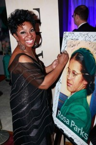 Gladys Knight at NAACP Image Awards with Rosa Parks Forever Stamp